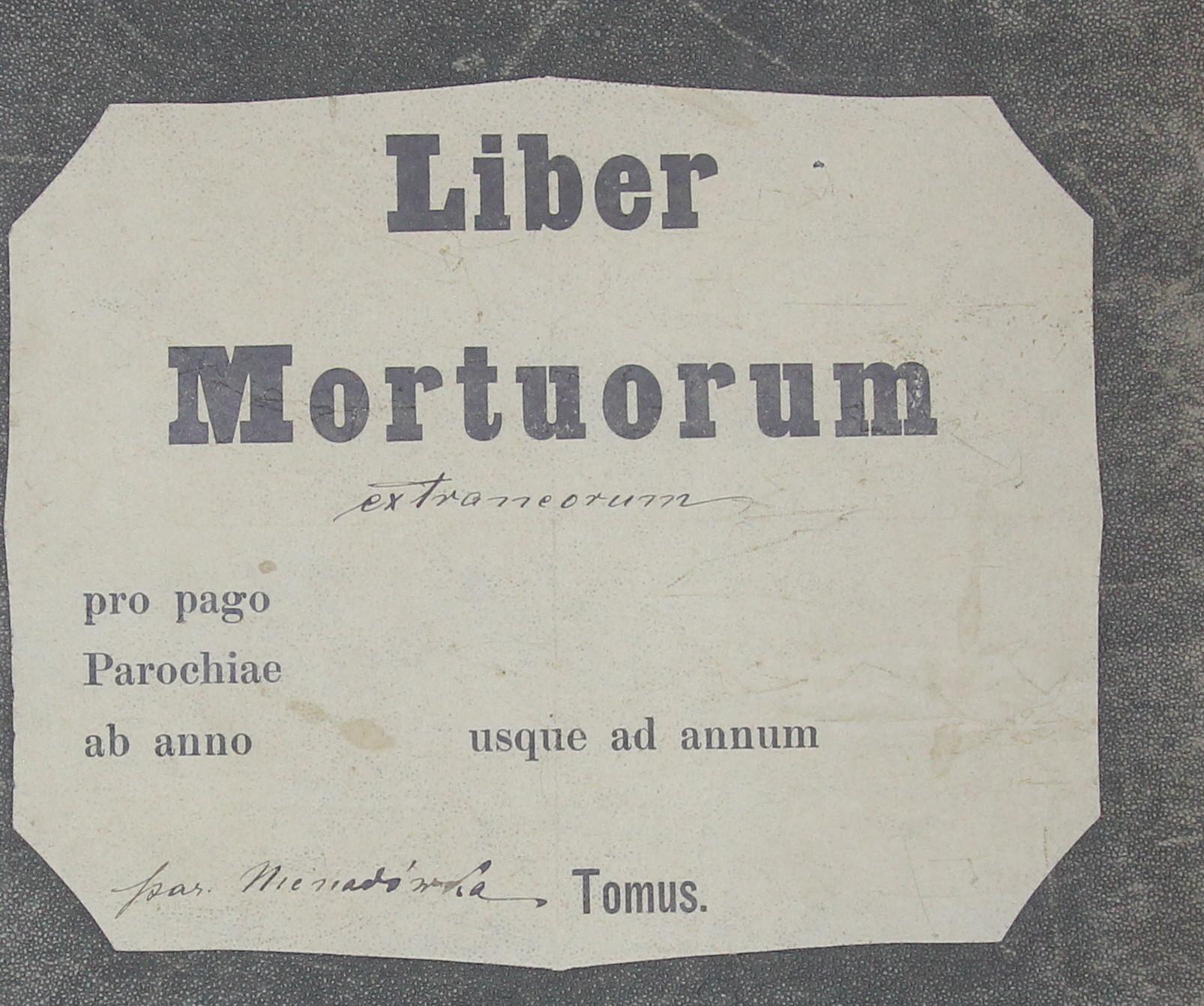 Liber Mortuorum Extraneorum parafia Nienadówka